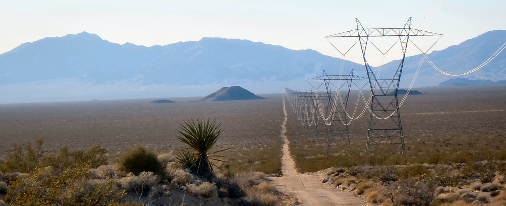 A powerline road north of Goffs, California.