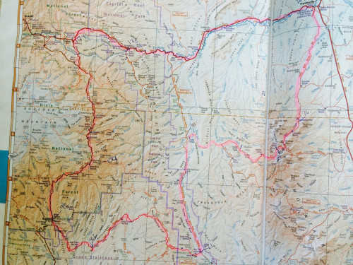A 2.5 day tour around Capitol Reef National Park with a climb over Boulder Mountain and a stretch on the Burr Trail. Base Map courtesy of Benchmark Maps from the Utah Road & Recreation Atlas.