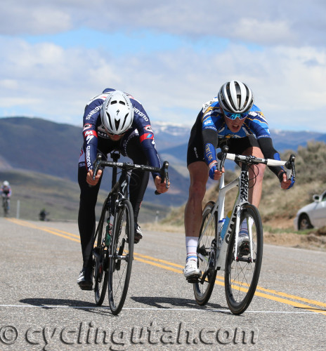 Erik Slack (left) just beat Cormac McGeough with a bike throw at the finish of the 2016 East Canyon Echo Road Race on April 16, 2016. Photo by Dave Iltis