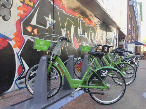 GreenBike Bike Share just installed 6 new stations. This is the one near Juniors on Broadway. Photo by Dave Iltis