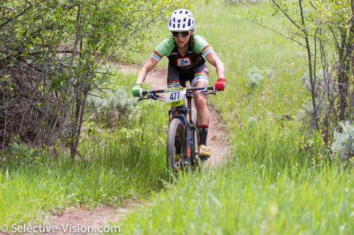 Rachel Anders on her way to winning the Pro-Women's Class at the Soldier Hollow Intermountain Cup race on May 7, 2016. Photo by Angie Harker; Selective-Vision.com