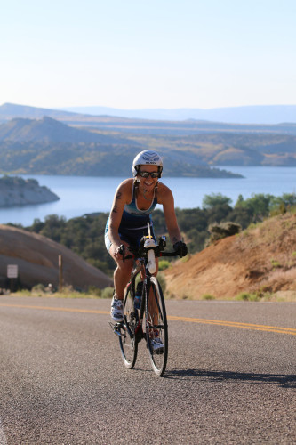 Sage Maaranen won the women's Olympic open category at the 2016 DinoTri in Vernal, Utah. Photo by Dave Iltis