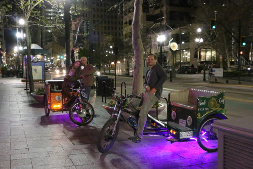 Pedicabs waiting for fares in downtown Salt Lake City. Photo by Dave Iltis