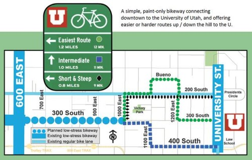 A map of potential bike routes connecting downtown Salt Lake City to the University of Utah.