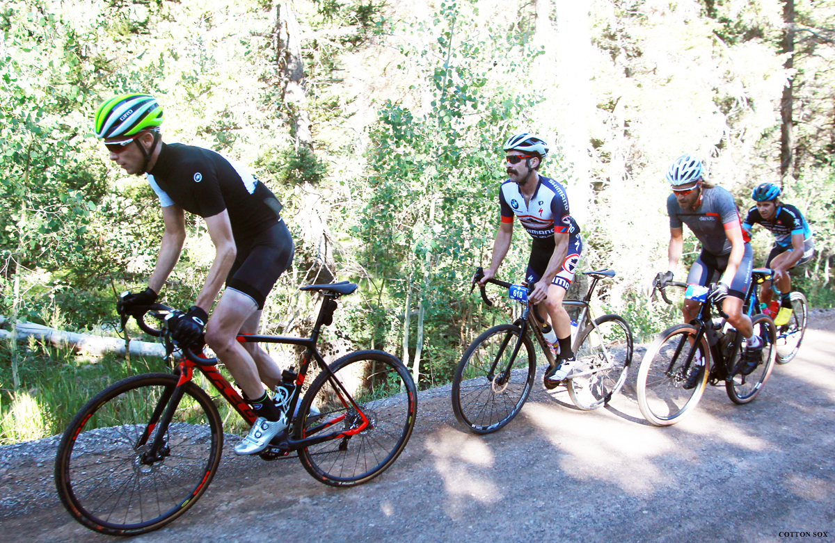 Rob Squire, Michael Burleigh, Dave Zabriskie, and Jamey Driscoll on the climb. Photo by Cathy Fegan-Kim, cottonsoxphotography.com