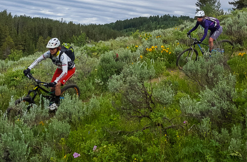 Nancy Rutheford and Celeste Young on the Rush Hour trail in the WYDAHO Region.
