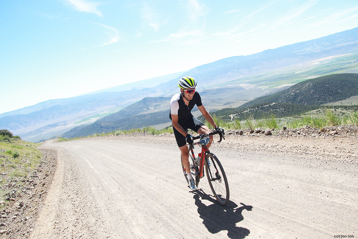 Rob Squire crushing the Col de Crush with a smile. Photo: Catherine Fegan-Kim