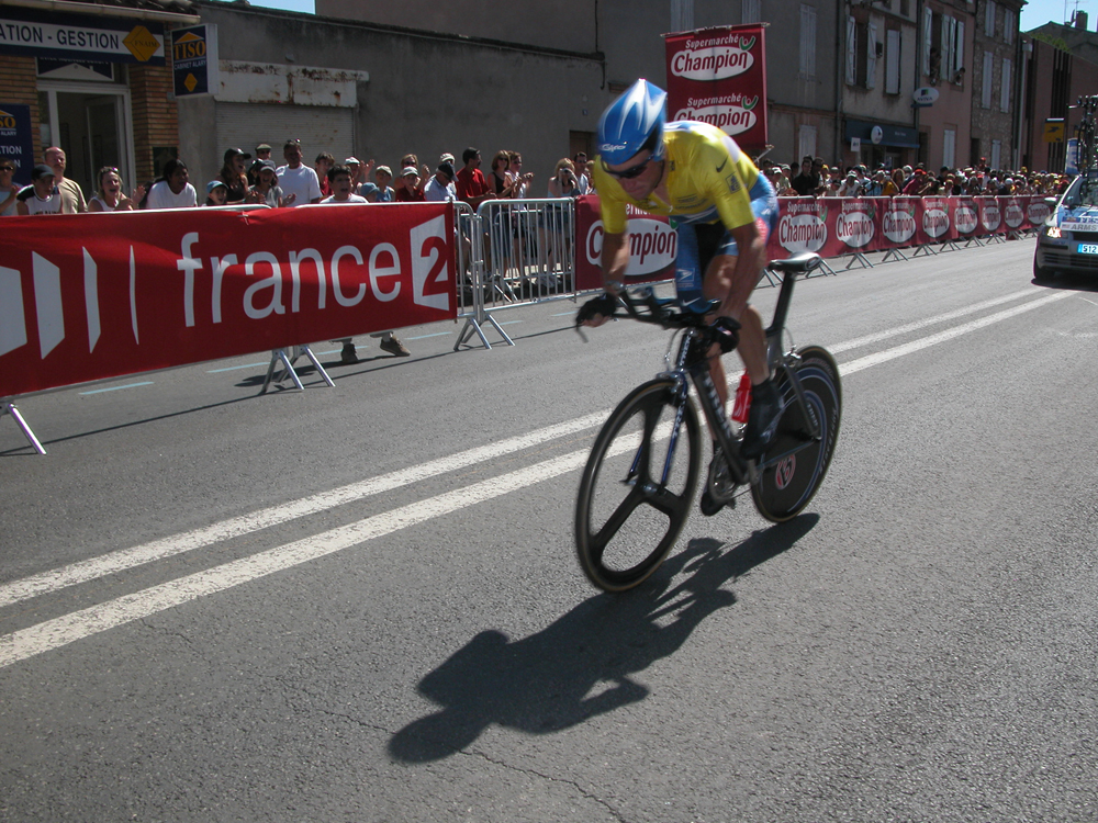 Lance Armstrong in the 2004 Tour de France time trial up Alpe d'Huez. Armstrong was stripped of this and the rest of his Tour de France wins for doping. Photo by David Ward