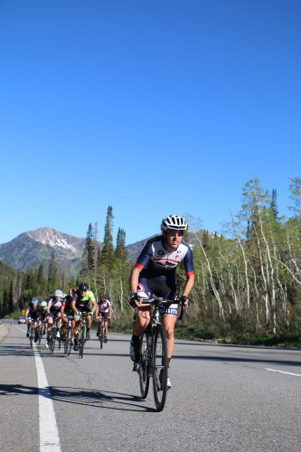 Mindy McCutcheon on her way to winning the womens pro category at the Porcupine Big Cottonwood Hill Climb on June 4, 2016. The long time Canyon Bicycles rider is moving to UCI status with Visit Dallas DNA Pro Cycling.