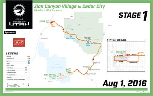 2016 Tour of Utah Map - Stage 1
