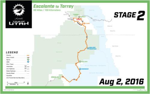 2016 Tour of Utah Map - Stage 2