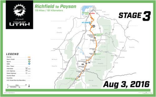 2016 Tour of Utah Map - Stage 3