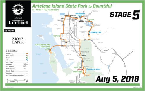 2016 Tour of Utah Map - Stage 5
