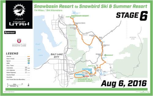 2016 Tour of Utah Map - Stage 6