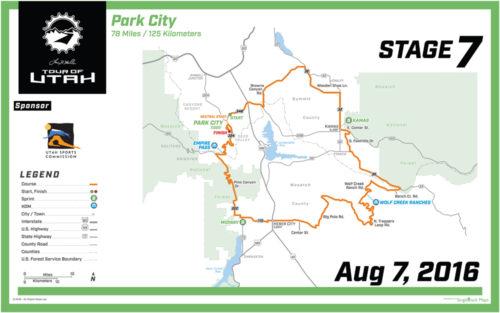 2016 Tour of Utah Map - Stage 7