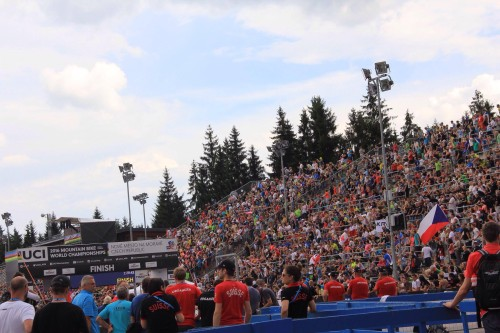 The Crowded Stadium. Photo by Rachel Anders at the MTB Worlds 2016 in the Czech Republic.