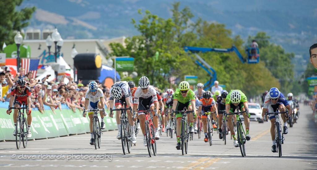 """Kiel Reijnen (Trek Segafredo) takes the sprint to win Stage 5 as """"Papa John"""" looks on, 2016 Tour of Utah. Photo by Dave Richards, daverphoto.com"""