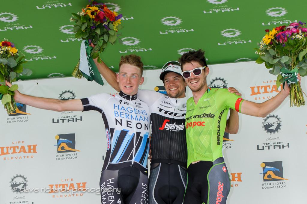 Stage 5 winners L-R: 2nd place Tao Geoghegan Hart (Axeon Hagens Berman) 1st place Kiel Riejnen (Trek Segafredo) 3rd place Alex Howes (Cannondale Drapac), 2016 Tour of Utah. Photo by Dave Richards, daverphoto.com