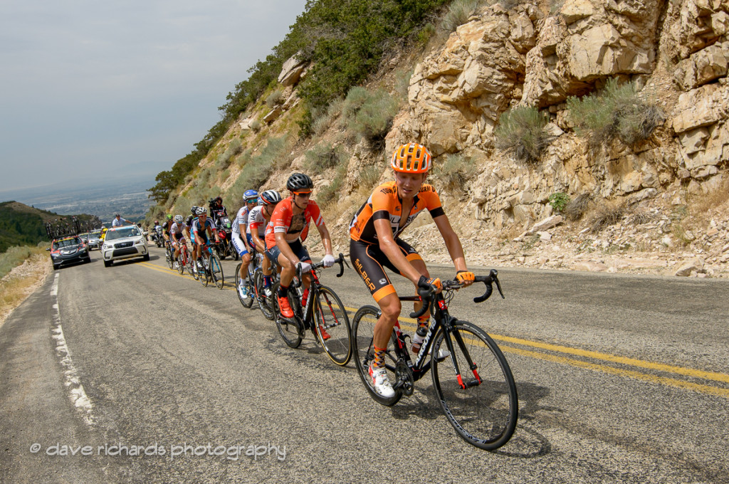 The breakaway climbs in the hot sun up North Ogden Divide, Stage 5, 2016 Tour of Utah. Photo by Dave Richards, daverphoto.com
