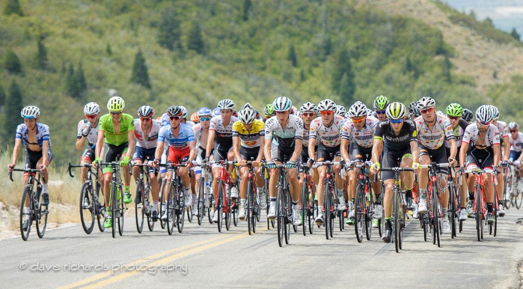 Yellow jersey leader Morton (Jelly Belly Maxxis) front and center protected by his teammates on the North Ogden Divide, Stage 5, 2016 Tour of Utah. Photo by Dave Richards, daverphoto.com
