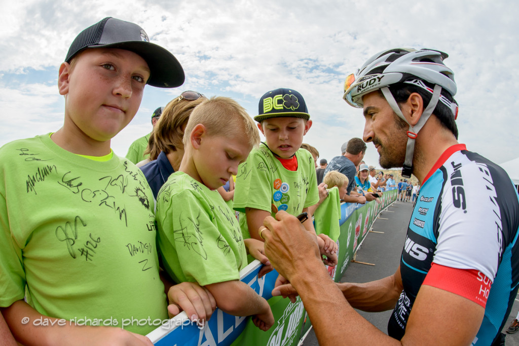Haedo (Team Jamis) signs a young fan's t-shirt at the sign-in for Stage 5, 2016 Tour of Utah. Photo by Dave Richards, daverphoto.com