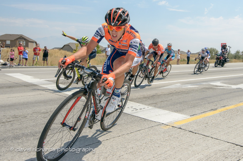 Nippo Fantini rider cuttin' it close in a turn out on Mountain View Corridor Hwy, Stage 4, 2016 Tour of Utah. Photo by Dave Richards, daverphoto.com