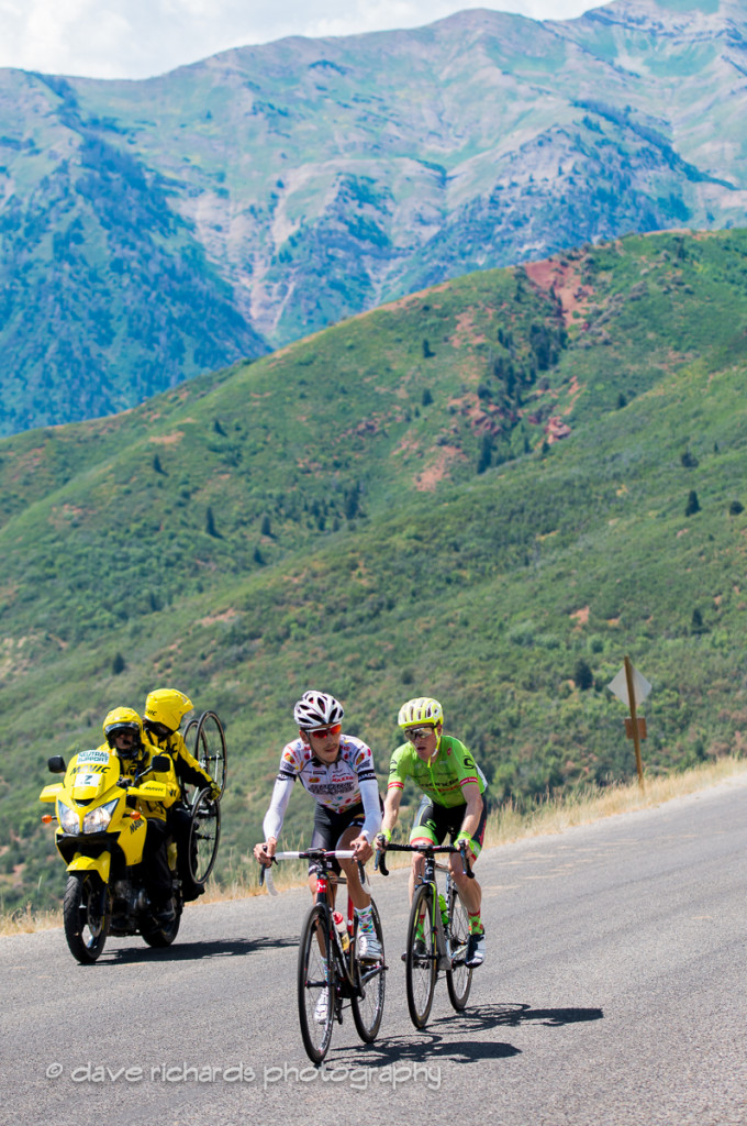 Breakaway riders Morton (Jelly Belly Maxxis) and Talansky (Cannondale Drapac) on the steep grades up Mt. Nebo, Stage 3, 2016 Tour of Utah. Photo by Dave Richards, daverphoto.com