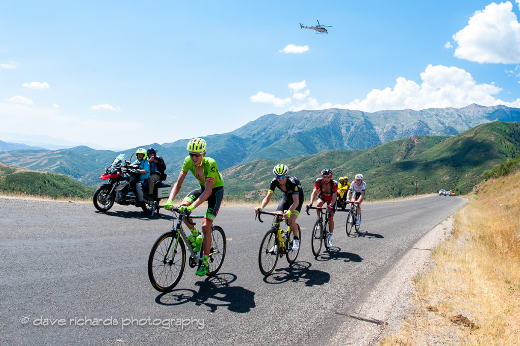 Defending Tour of Utah winner Joe Dombrowski (Cannondale Drapac) leads the chasers on the Mt. Nebo climb as the TV helicopter hovers overhead, Stage 3, 2016 Tour of Utah. Photo by Dave Richards, daverphoto.com