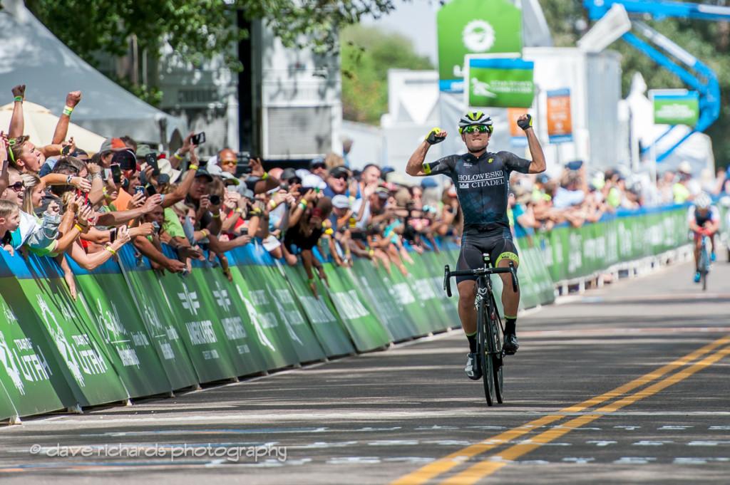 Robin Carpenter (Holowesko/Citadel Hincapie) celebrates winning after riding a long, hard fought two man breakaway, Stage 2, 2016 Tour of Utah. Photo by Dave Richards, daverphoto.com