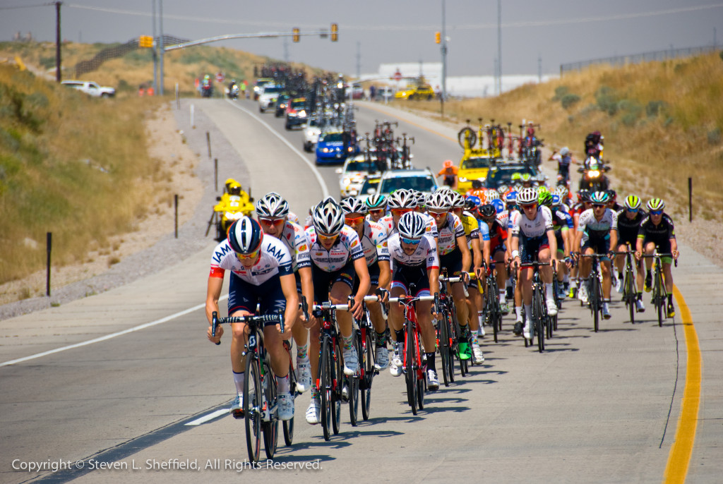 Jelly Belly on the front protecting race leader Lachlan Morton's yellow jersey. Photo by Steven Sheffield