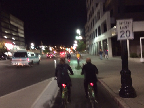 The protected bike lane on 300 S has been a cycling and retail success. Photo by Dave Iltis