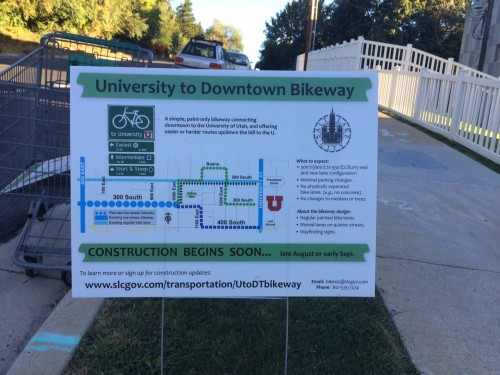 The implementation plans for the 300 S bikeway to the University of Utah are not slated to follow the bike/ped master plan. Photo by Dave Iltis