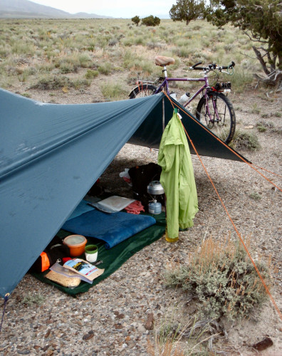 Bike touring tent Utah West Desert