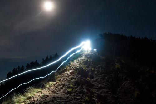 Riding Dog Lake Trail at night
