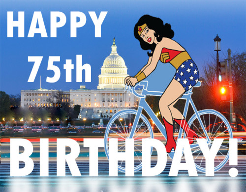 Wonder Woman on Bicycle in front of the United States Capital