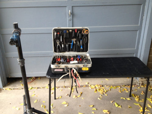 Portable bicycle tools and stand