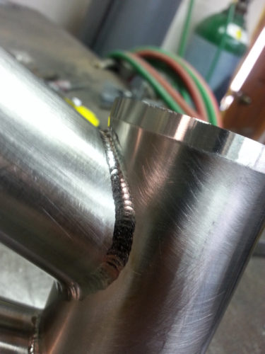 Blaze Bicycles - a fine tig weld on a titanium frame. See it at the North American Handmade Bicycle Show to be held from March 10-12, 2017 in Salt Lake City. Photo courtesy Pierre Chastain