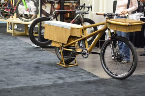 Calfee's bamboo cargo bike on display at the 2016 NAHBS. Photo by Billy Sinkford