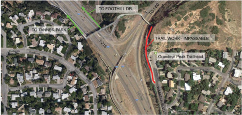 Parley's Trail (PRATT) will be closed in the area shown in the graphic from 3-20-2017 to 3-22-2017. Photo courtesy Salt Lake County