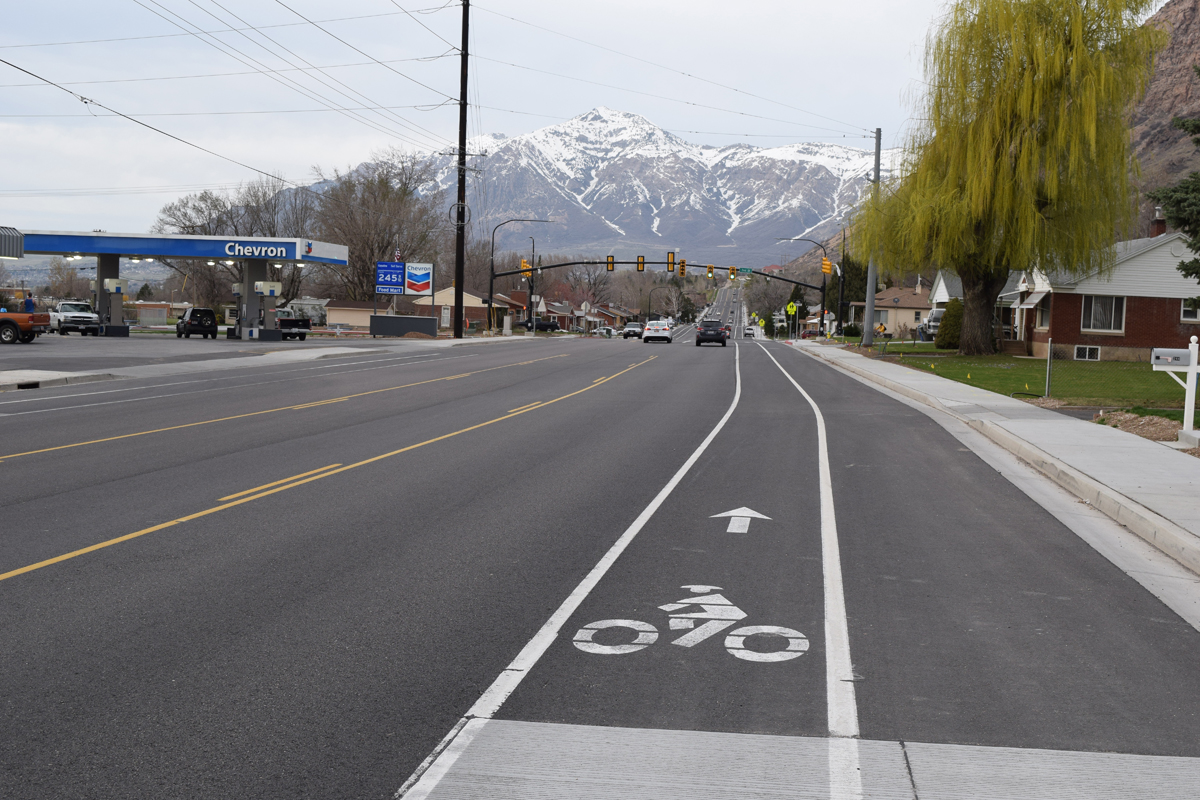 North-facing view of Harrison Boulevard with new bike lane markings and new traffic light at 2nd Street and Harrison Boulevard shown. Photo by Turner Bitton