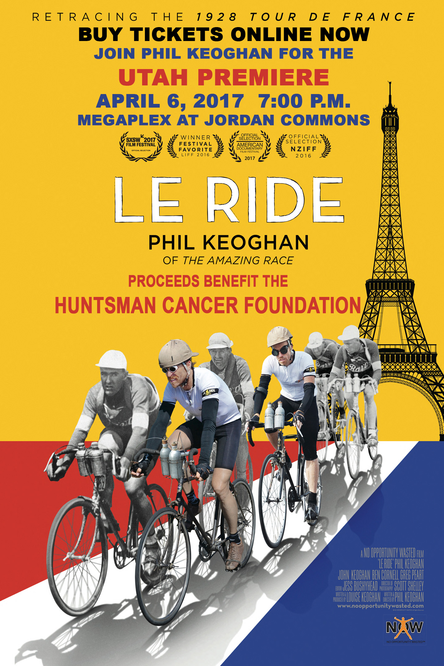 Le Ride, a documentary on retracing the route of the 1928 Tour de France, will show in Salt Lake City at the Megaplex at Jordon Commons at 7 pm on April 6, 2017.