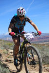 Sonya Looney battled back from an earyly mechanical and overheating to finish 4th in the 100 miler in the 2017 True Grit Mountain Bike Race. Photo by CrawlingSpider.com, find your photo from the race.