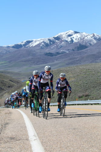 Rob Squire (center), Chad Beyer (left), and Paco Mancebo (right) lead at the front of the pack just before establishing the winning break. Beyer would go on to win the race. East Canyon Road Race, April 15, 2017. Photo by Dave Iltis