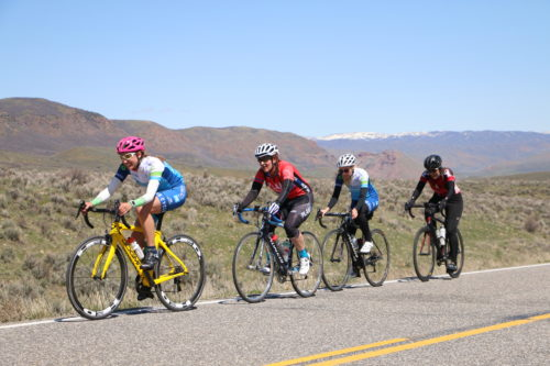 The women's master 35+ field on the backside of Hogsback in the East Canyon Road Race, April 15, 2017. Kelly Hunsaker (red jersey) went on to win the category. Photo by Dave Iltis