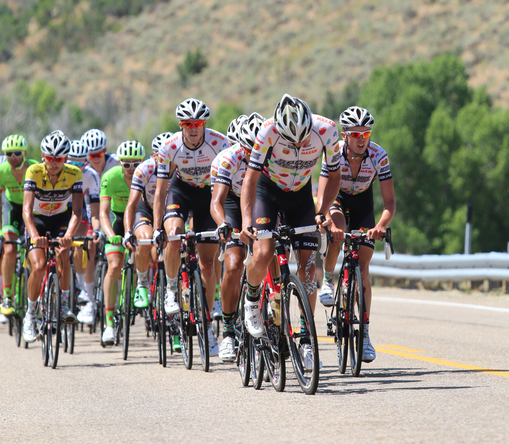 Jelly Belly rides at the front in stage 6 of the 2016 Tour of Utah to protect the lead of race winner Lachlan Morton. Jelly Belly will return to the 2017 edition, but without Morton. Photo by Dave Iltis