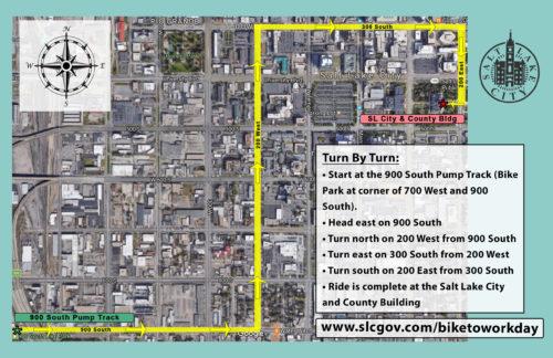 2017 Salt Lake City Mayor's Bike to Work Day Route Map.