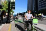 Salt Lake City Mayor Jackie Biskupski leads the Mayor's Bike to Work Day on May 23, 2017. Photo by Dave Iltis