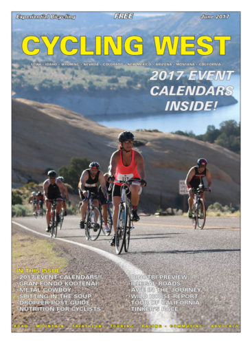 Cycling West June 2017 Cover Photo: Riders climb out of Red Fleet Reservoir during the 2016 DinoTri in Vernal, Utah. Photo by Dave Iltis