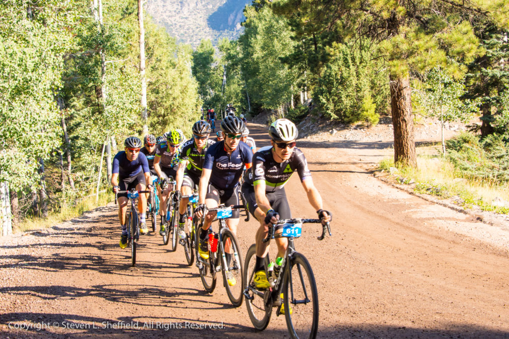 Ben King leading the main field up the first dirt section in the 2017 Crusher in the Tushar. Photo by Steven Sheffield
