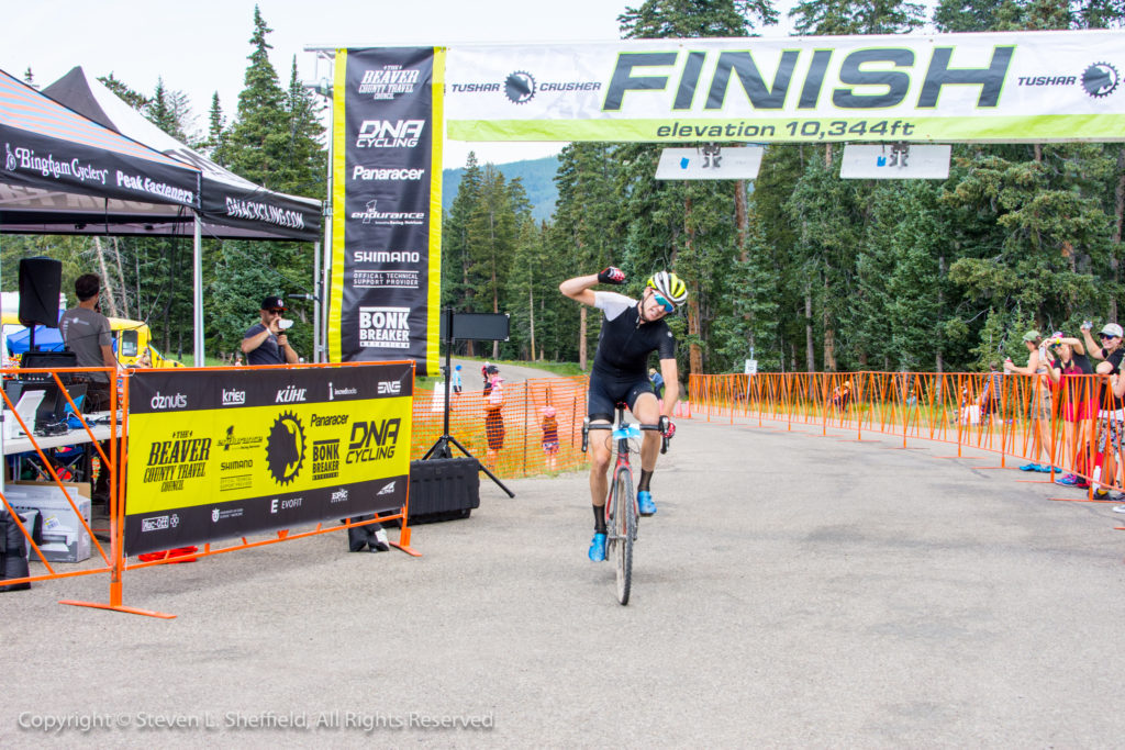 Robert Squire crossing the line, to become the Crusher's first three-time winner. Photo by Steven Sheffield